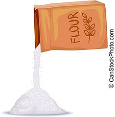 Box of Flour Pouring - Vector Illustration of Box of Flour...