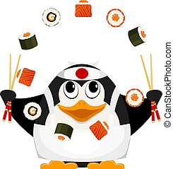Chef of Japanese cuisine. Small young penguin juggles with Japanese food. Cartoon vector illustration