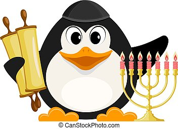 Young Jew with Torah and Hanukkah candle Holder on a white background. A cute baby penguin with traditional jewelery items. Vector illustration