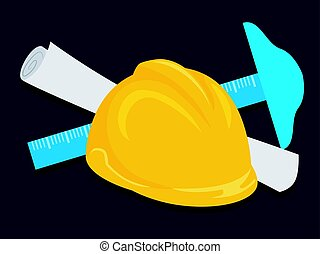 Engineer Helmet T-square and Paper - Vector Illustration of...