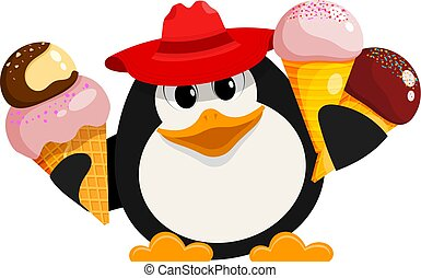 Penguin with ice cream. Cartoon style color image of a small cute penguin in a red hat with ice cream on a white background. Vector illustration