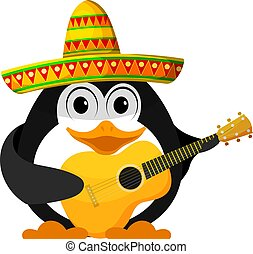 Penguin with a guitar and a sombrero. Cartoon image of a young funny little penguin in Mexican style. Vector illustration