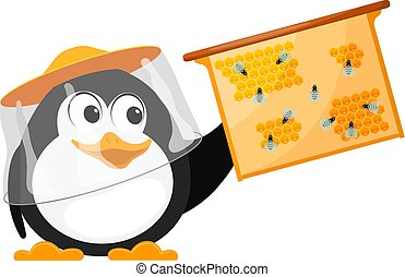 Bee-eater with bees honeycombs on a white background. The cartoon style of the young penguin works on the apiary. Vector illustration