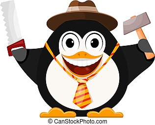 Merry penguin in a hat with a hammer and a saw. Father's day concept. Cartoon style color vector illustration