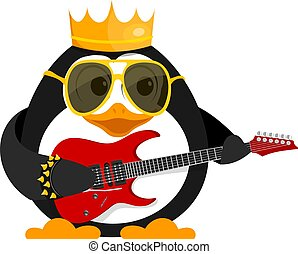 Lovely young penguin with a guitar and a bracelet. A little penguin is a rock musician on stage. Cartoon style vector illustration