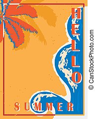 Retro poster with palm trees, sea and beach. Vintage postcard, the concept of summer holidays on the island. Vector illustration.