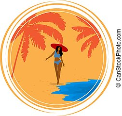 Round Retro poster with palm trees, sea, Girl and beach. Vintage postcard, the concept of summer holidays on the island. Vector illustration.