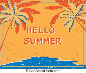 Retro poster with palm trees, sea and beach. Vintage postcard, concept of summer holidays on the island. Vector illustration.