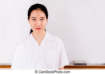 Portrait Chinese high school girl in uniform - Chinese high...
