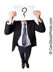 Question - Above angle of smart businessman in suit showing...