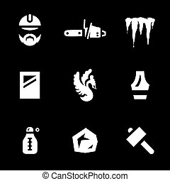 Vector Set of Ice Carving Icons. - Sculptor, chainsaw, ice,...