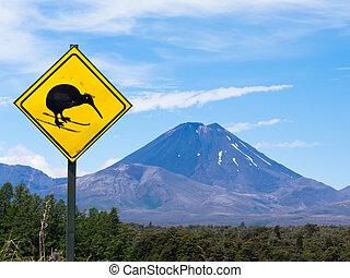 Active volcano Mount Ngauruhoe fun Kiwi road sign - Active...