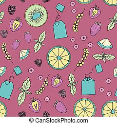 Summer tea ceremony seamless pattern. Hand drawn tea bags with mint, orange slices, kiwi slices, strawberry, currant, blueberries.
