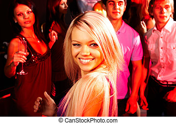 Pretty girl - Image of energetic girl looking at camera on...