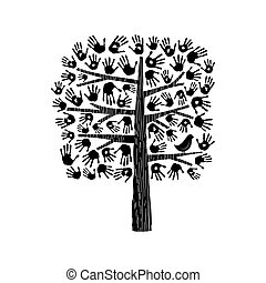 Hand tree illustration in black and white