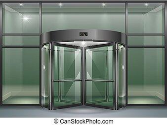 Facade with revolving doors - The facade of a modern...