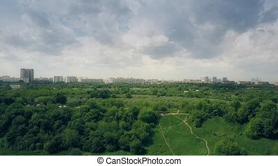 Aerial shot of Moscow cityscape as seen from Kolomenskoe...
