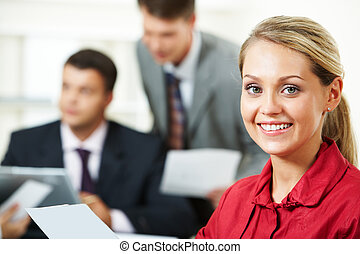 Pretty manager - Portrait of blond businesswoman looking at...