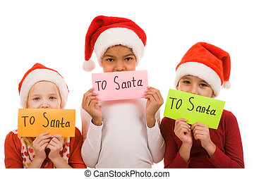 Christmas letters - Happy children holding envelopes with...
