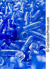 Blue plastic tubes