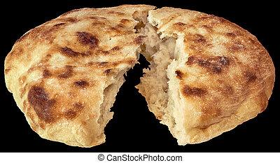 Leavened Pitta Flatbread Torn Loaf Isolated On Black...