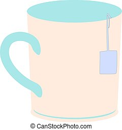 Teacup Vector - Teacup in simple vector with teabag hanging...