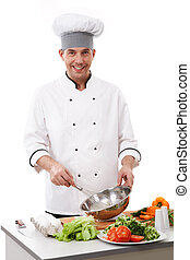 Cooking chef - Portrait of handsome man in cook uniform...