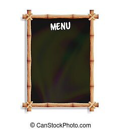 Menu Board With Bamboo Frame. Isolated On White Background. Realistic Black Chalkboard Hanging. Vector Illustration