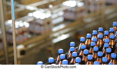 Mass manufacturing of a beer - Conveyor of beer or...