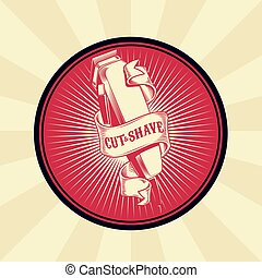 Vector vintage badge, sticker, sign for barber shop with...