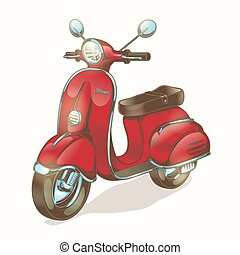 Vector color illustration red scooter, moped in vintage...