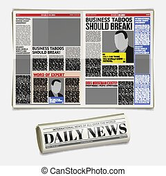 Vector daily newspaper template, tabloid, layout posting...