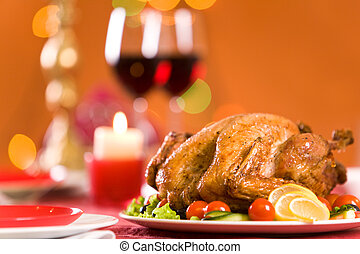 Delicious coarse - Image of roasted turkey surrounded by...