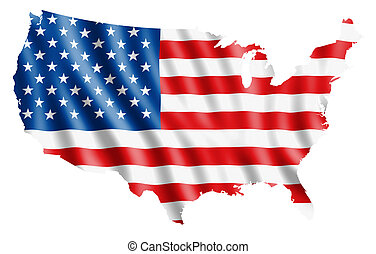 USA flag map - Map of USA with waving flag. Clipping path...