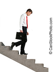 Failure - Image of sad businessman walking downstairs