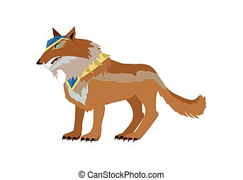 Fantastic Wolf Vector Illustration in Flat Design. -...