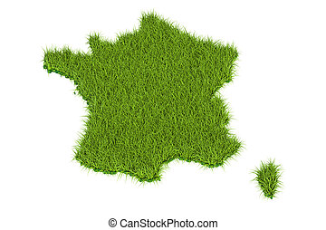 France map from green grass, 3D rendering isolated on white...