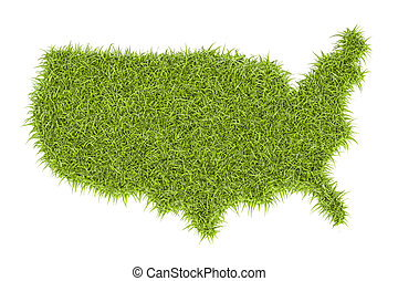 United States of America map from green grass, 3D rendering...
