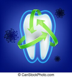 Tooth protection consept - Vector green arrow protection...