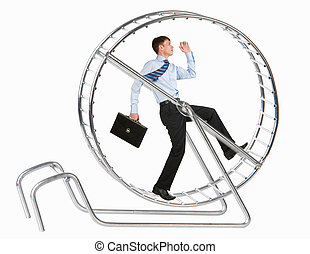 Hasting all the time - Photo of running man in metal wheel...