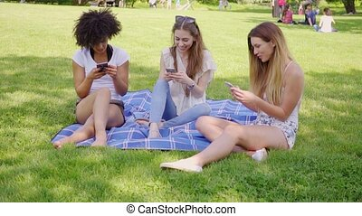 Women using smartphones on meadow - Three cheerful female...
