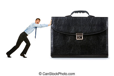 Workforce - Image of strong businessman pushing his big...