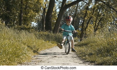 Boy Riding Bicycle in the Park - Little fourth year boy...