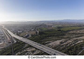 Aerial view of 101 Freeway at the Santa Clara River in Ventura California