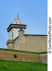 The Narva castle. - View of the fortress walls of Narva...