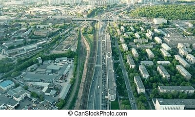 Moscow aerial city view and heavy traffic jam in the rush...