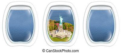Porthole windows on Liberty Island - Three porthole frame...