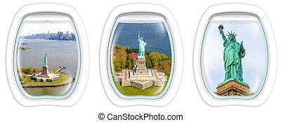 Statue of Liberty Portholes - Three porthole frame windows...