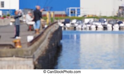 Fishermen with fishingrod on a pier - Fishermen throwing...