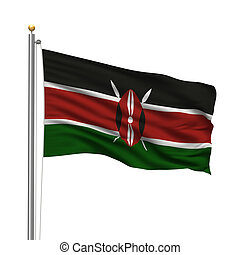 Flag of Kenya with flag pole waving in the wind over white...
